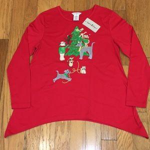 Sophia & Jayne Women's L Dog & Cat Christmas tunic